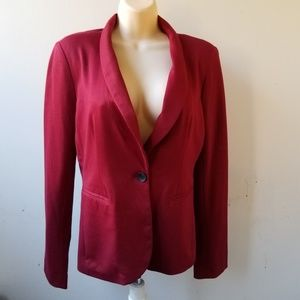 Red Lined One Button Blazer Jacket